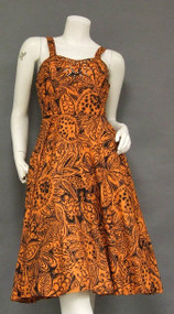 Pumpkin & Black Cotton 1950's Sun Dress w/ Rhinestones & Pearls