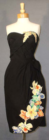 KNOCKOUT Tiana Pittelle Black Sarong Dress w/ Floral Appliques