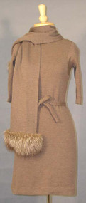 BOMBSHEll Wool Dress w/ Matching Fur Trimmed Scarf