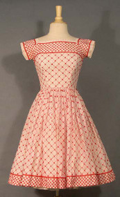 AMAZING Jonny Herbert Red & White Embroidered Summer Dress