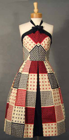 AMAZING Red, Black & Ecru 1950's Halter Dress