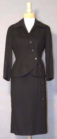 EXTRAORDINARY Christian Dior Asymmetrical Black Wool Suit