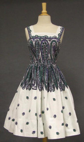 Anne Fogarty Printed Pique 1950's Sun Dress