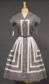 AMAZING Unworn Herman Marcus Gingham 1950's Shirt Dress w/ Eyelet Trim