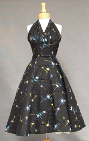 FABULOUS Atomic Cotton 1950's Halter Dress