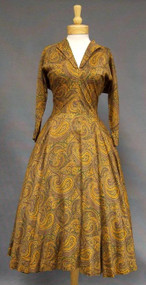 Claire McCardell Paisley Printed Cotton 1950's Dress