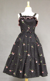 Beautiful Black Cotton 1950's Sun Dress w/ Roses & Shawl