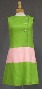 Terrific Sarmi Lime & Pink 1960's Summer Dress