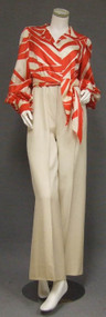 STRIKING Red & Cream Silk Sarmi Pantsuit