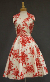 Stunning Paul Sachs Cream & Red Cotton Pique 1950's Halter Dress