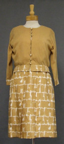 Sophie Gimbel Camel Silk Dress w/ Matching Sweater