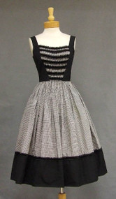 Awesome Black Cotton, Gingham & Velvet 1950's Dress