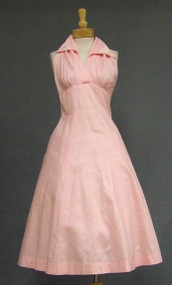 Pretty Pink Cotton Halter Dress w/ Butterfly Appliqued Collar