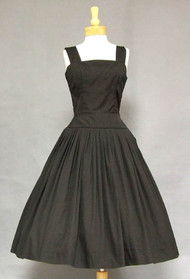 Gorgeous Black Cotton 1950's Sun Dress w/ Open Tie Back