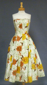 Gorgeous Sunflower Print Strapless 1950's Sun Dress