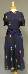 Navy Rayon 1940's Dress Scissors & Roses