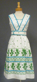 Teal Traina Blue Green & White 1960's Day Dress