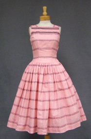 Adorable Pink Gingham 1950's Day Dress w/ Floral Bands