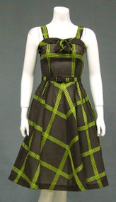 Striking Chocolate & Lime 1950's Sun Dress