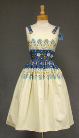 NOS Blue & Cream Floral Cotton 1950's Sun Dress