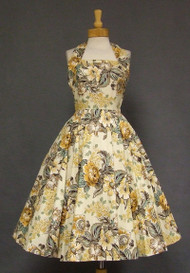 GORGEOUS Floral Cotton 1950's Halter Sun Dress
