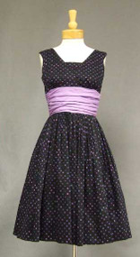 Jonathan Logan Polka Dotted Cotton Vintage Dress w/ Matching Topper