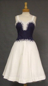 Navy & White Pique FLAME Trimmed 1950's Sun Dress