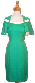 1960's Travilla Spring Green Dress w/ Attached Cape & Leather Trim