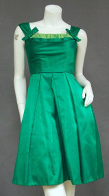 Green Satin 1960's Cocktail Dress w/ Chiffon Bust