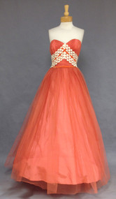 Fabulous Pumpkin Tulle & Ivory Lace 1960's Ballgown with Velvet Trim.