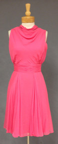 Vibrant Hot Pink Silk Chiffon Saks Fifth Avenue 1960's Cocktail Dress