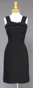 Black Crepe 1960s Cocktail Dress with Bow Accent