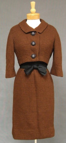 Gorgeous Russet Wool Boucle & Black Silk 1960's Ensemble