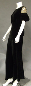 1930's Black Velvet Bias Evening Gown w/ Beaded Cutout Sleeves