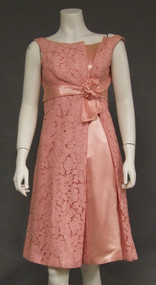Pink Lace & Satin Asymmetrical 1960's Cocktail Dress
