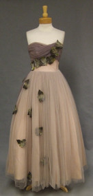 Falling Leaves 1950's Will Steinman Strapless Evening Gown