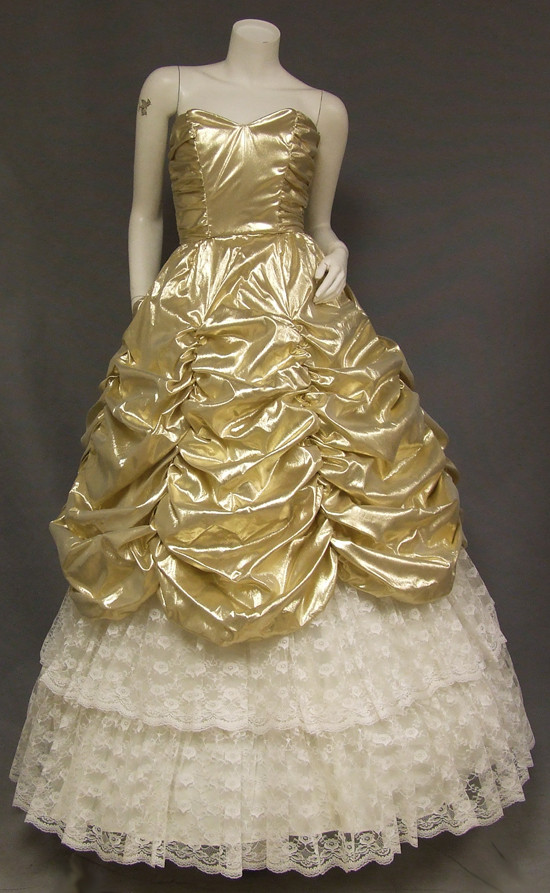 Gold Lame Amp Ivory Lace Strapless 1980 S Ball Gown Prom