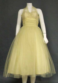 Floating Lemon Tulle 1950's Halter Prom Dress