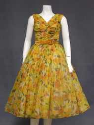 Superb Autumn Floral Chiffon 1950's Cocktail Dress