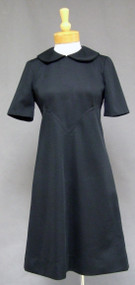 Black Knit Vintage 1960's Day Dress w/ Collar