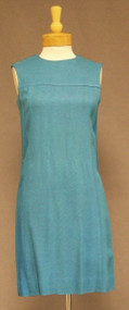 Turquoise Linen Textured Rayon Sleeveless Vintage 1960's Sheath Dress