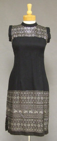 Black & Silver 1950's 1960's Cotton Wiggle Dress w/ Wrap