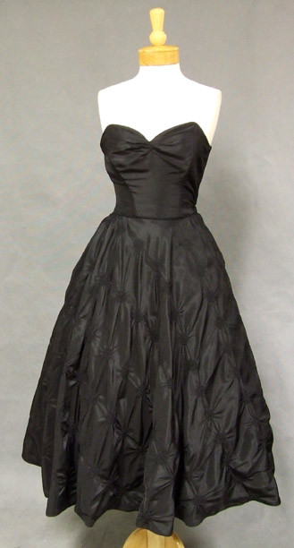 AMAZING 1950's Strapless Black Taffeta