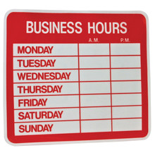 "9.5"" x 10.5"" Uneaque Series Business Hours Window Decal with Pre-Cut Numbers - FREE SHIPPING"