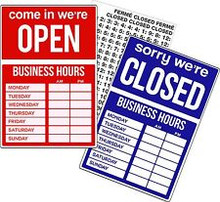 "9.5"" x 14"" Uneaque Series Open-Closed - Business Hours Window Sign with Stick On Letters and Suction Cups - FREE SHIPPING"