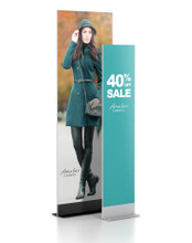 """48"""" Wide Professional Series Double LL Rigid Graphic Sign Stand Base, Silver. Made in the USA"""