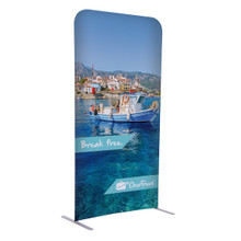 "72""H x 36""W Creative Series EuroFit Trade Show and Expo Straight Wall Kit Floor Display Stand with Double-Sided Printed Graphic"