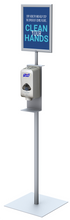 "Floor Standing Round Pole Hand Sanitizer Dispenser Pump Stand with 8.5 x 11"" Sign Holder. Made in USA."