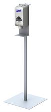 Floor Standing Round Pole Hand Sanitizer Dispenser Pump Stand. Made in USA.