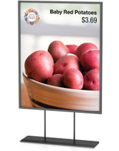 8.5 x 11 Inch Low Profile Series All Metal Stand-Off Tube Counter Top Sign Holder, Vertical. Made in the USA.